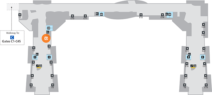 Image of a map of XpresCheck location at George Bush Intercontinental Airport