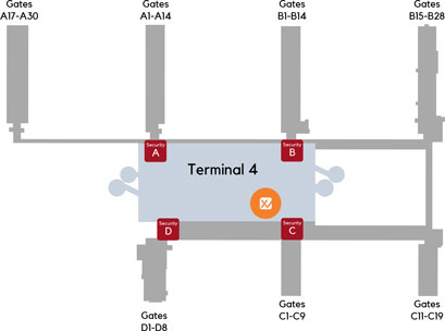 Image of a map of XpresCheck location at Phoenix Sky Harbor International Airport